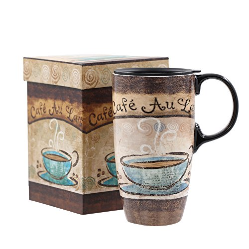 Travel Coffee Ceramic Mug Porcelain Latte Tea Cup With Lid In Gift Box 17oz North Beach By