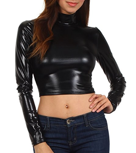 f31b7695cf7275 This style of long sleeve crop top features a mock neck turtleneck, slim  stretch fit and solid metallic colors. Material: 80% polyester / 15%  Viscose / 5% ...