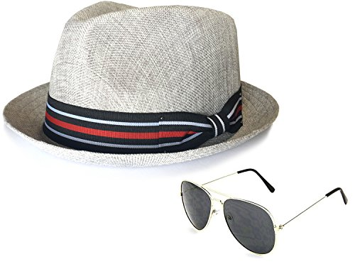 f608b3cb97a Epoch Men's Summer Lightweight Linen Fedora Hat with Aviator Sunglasses,  SM, Grey