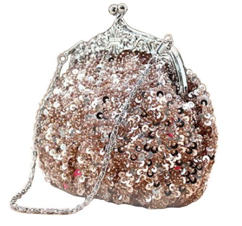 5e1a43330bfdb4 Chicastic Fully Sequined Mesh Beaded Antique Style Formal Cocktail Clutch –  Rose Gold