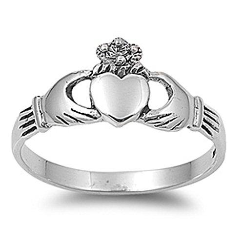 Sterling Silver 925 IRISH HEART SHAPED CZ CLADDAGH DESIGN RINGS 9MM SIZES 4-12 Sieraden en horloges