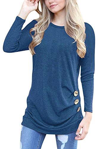 64dce95e0 Feature: casual long sleeve round neck tunic shirt. Occasion:lightweight  fabric good for all seasons, work, great to wear for ...