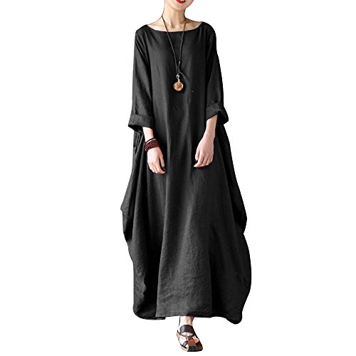 5e23dec1da Celmia Women s 3 4 Sleeve Round Neck Solid Loose Long Maxi Dress Cotton  Gown with Side Pockets