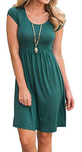 89ac04379118 Artfish Women's Long Sleeve Pleated Loose Swing Casual Dress Knee Length